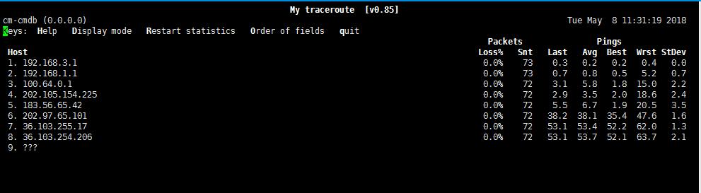 通过mtr侦测到网站路由质量